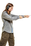 Man with headphones listening to music. Leisure. Royalty Free Stock Photos