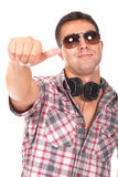 Man with headphones and making ok sign Royalty Free Stock Image