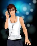 Man headphones music Stock Photography