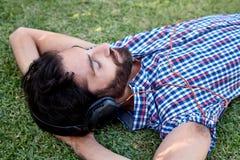 Man headphones music Stock Photo