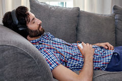 Man headphones music Stock Images