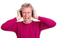 Man with headphones screaming Stock Photography