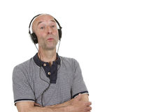 Man with headphones whistling Royalty Free Stock Photo