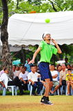 Man heads the ball in game of Kick Volleyball,sepak takraw Stock Photography