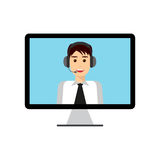 Man with headset on computer stock illustration