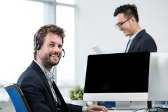Man in headset Royalty Free Stock Photography