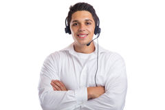 Man headset telephone phone call center agent portrait business Stock Photography
