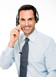 man with headset working as a call center operator Stock Image
