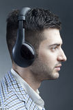 Man with headsets stock image