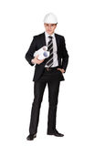 Man in headwear with blueprint Stock Photo