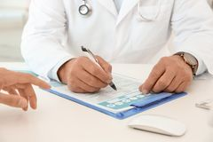 Man with health problems visiting urologist. At hospital stock photos