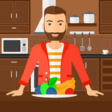 Man with healthy food. Royalty Free Stock Images