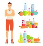 Man and Healthy Lifestyle Vector Illustration. Man and healthy lifestyle, icons of food set. Vegetables and fruits, milk and water, carrots and banana. Meals in vector illustration