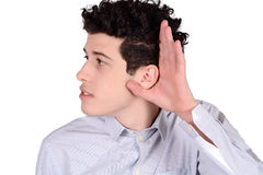 Man hearing something. Stock Images
