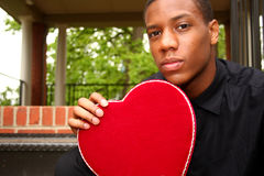 Man With Heart. A man holding a velvet heart shaped box Stock Images