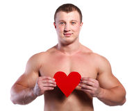 Man with heart Royalty Free Stock Photo