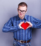 Man with heart Stock Photos