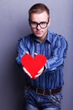 Man with heart Stock Images
