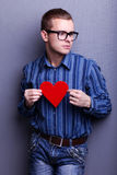 Man with heart Stock Photo