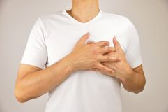 Man with heart attack. Man touching with his hands with aheart attack chest pain with angina pectoris  on white background Royalty Free Stock Images