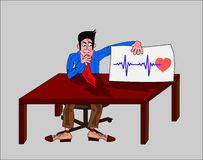 Man with heart-beat Stock Images