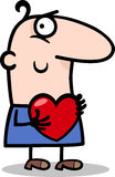 Man with heart cartoon illustration Royalty Free Stock Photo