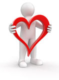 Man and heart (clipping path included) Stock Photo