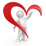 Man and heart (clipping path included) Stock Images