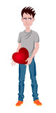 Man with heart, funny cartoon character Stock Photography