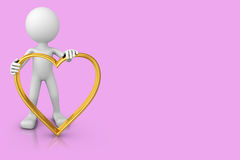 Man with a heart of gold. White man with a heart of gold on a pink background Royalty Free Stock Images