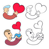 Man with heart and a man with a smoking pipe Royalty Free Stock Photos