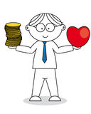 Man with a heart and money Stock Photos