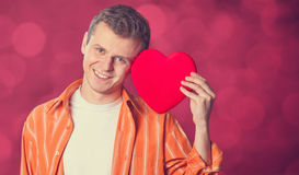Man with heart shape. Royalty Free Stock Photos