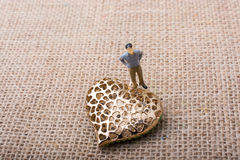 Man beside a Heart shaped object Royalty Free Stock Images
