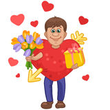 Man in a heart suit with flowers and gift in hands Royalty Free Stock Photography