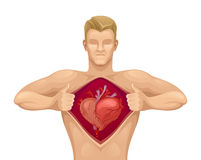 Man with heart Stock Image