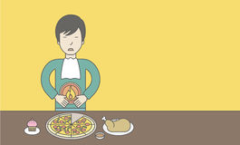 Man with heartburn. An asian man standing near the table with food suffering from heartburn. Vector line design illustration. Horizontal layout with a text space Stock Photo