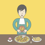 Man with heartburn. An asian man standing near the table with food suffering from heartburn. Vector line design illustration. Square layout Royalty Free Stock Photos