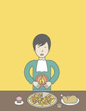 Man with heartburn. An asian man standing near the table with food suffering from heartburn. Vector line design illustration. Vertical layout with a text space Stock Image
