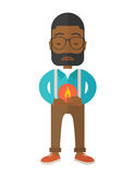Man with heartburn. A sick african-american man with heartburn holding hands on his stomach vector flat design illustration isolated on white background Royalty Free Stock Photography