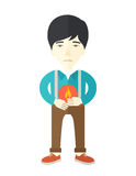 Man with heartburn. A sick asian man with heartburn holding hands on his stomach vector flat design illustration isolated on white background. Vertical poster Royalty Free Stock Photos