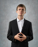 Man is heartily thinking Stock Images