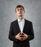 Man is heartily thinking and considering Royalty Free Stock Photography