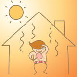 Man in the heat house. Cartoon character of man in the heat house Stock Images