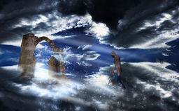 Man into a heavenly sky Royalty Free Stock Photo