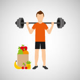 Man heavy barbell exercising bag health food. Vector illustration eps 10 Royalty Free Stock Image