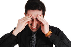 Man with heavy headache. Royalty Free Stock Photography
