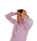 Man with heavy headache. Stock Photo