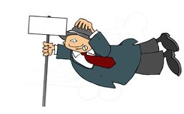 Man In A Heavy Wind. This illustration depicts a man hanging on to a sign in heavy wind Stock Image