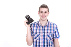 Man held his camera Stock Photo